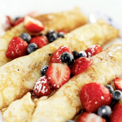 Crepes Topped with Assorted Berries